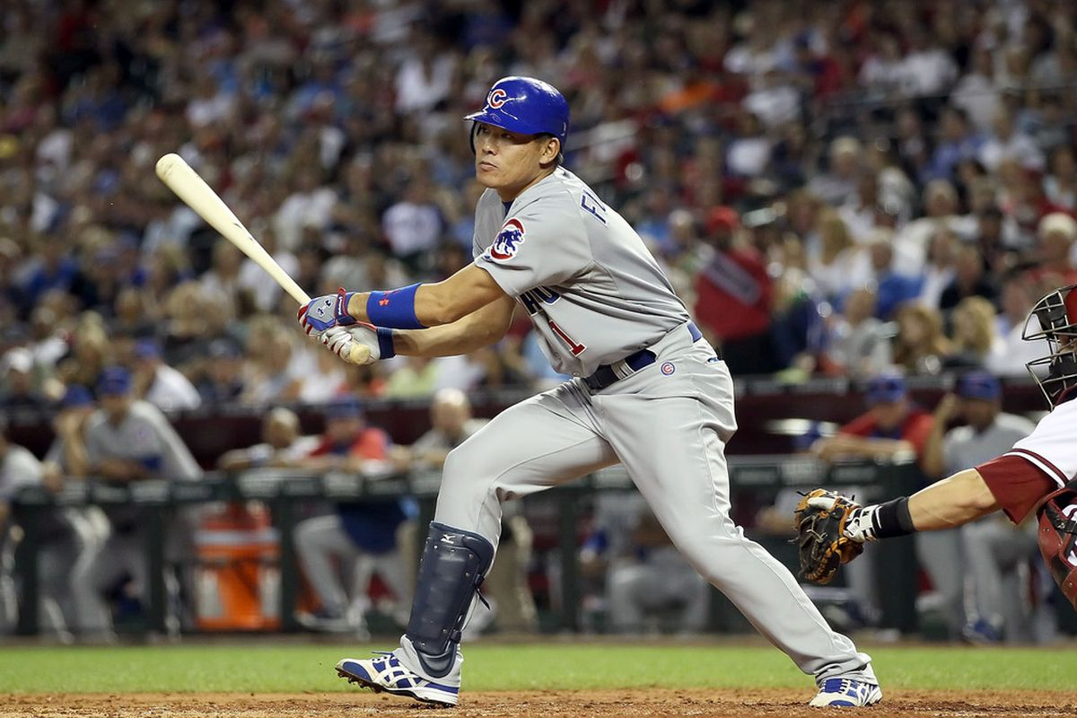 Kosuke Fukudome of the Chicago Cubs bats against the Arizona Diamondbacks during the Major League Baseball game at Chase Field on April 28, 2011 in Phoenix, Arizona.  (Photo by Christian Petersen/Getty Images)