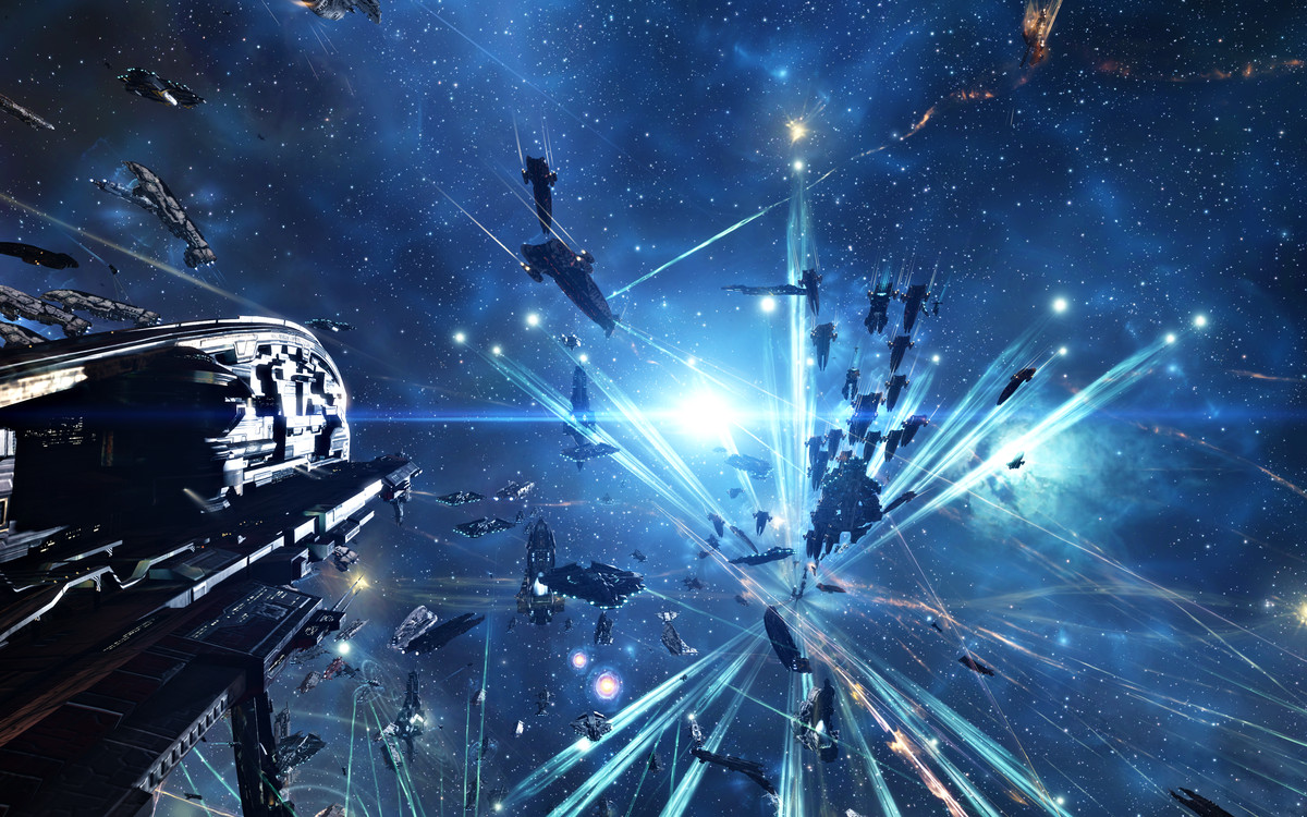 Ships in Eve Online tether to a nearby structure, preparing for battle.