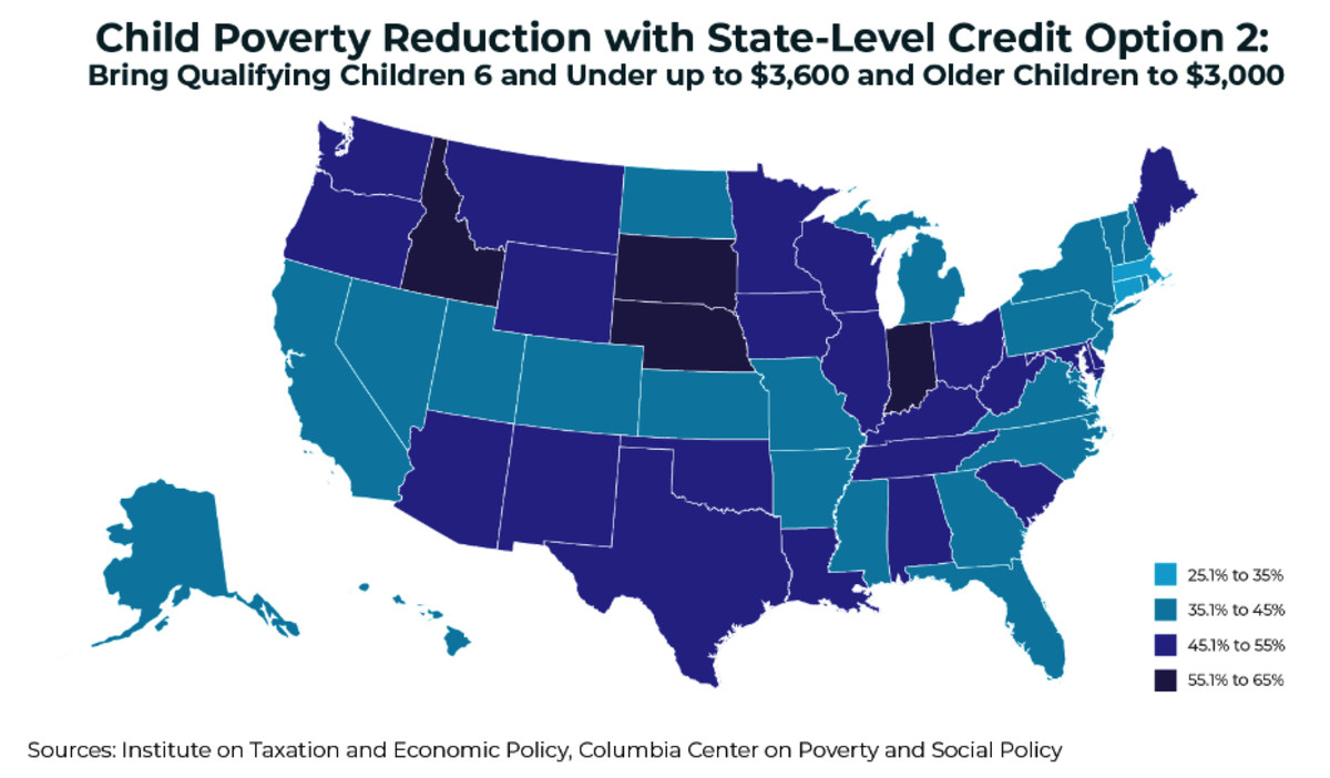 How much child poverty would fall in each state under the larger state tax credit expansion.