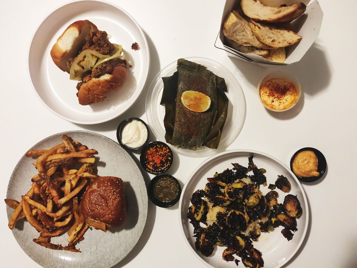 Assortment of shared dishes from Brassica Kitchen + Cafe