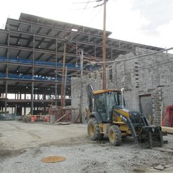 12:35 p.m. View looking south, at the new broadcast building and the plaza building in the background -
