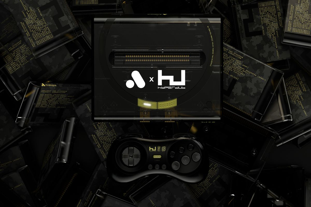 A product photo of the Hyperdub Mega SG console and controller, with cartridges in the background