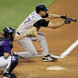 Webb lays down a bunt on April 18, 2005 at Coors
