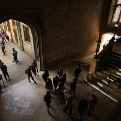 Tours are taken at Christ Church, Oxford University, in England on June 14, 2017. The stairs was used in the Harry Potter films.