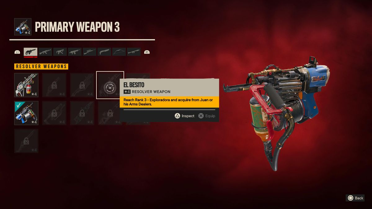 The Resolver weapon screen in Far Cry 6