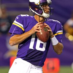 Aug 9, 2013; Minneapolis, MN, USA; Minnesota Vikings quarterback Matt Cassel (16) drops back for a pass in the second quarter against the Houston Texans at the Metrodome.