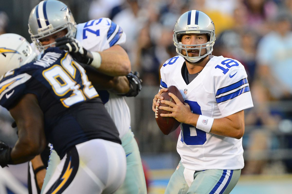 August 18, 2012; San Diego, CA,  Dallas Cowboys quarterback Kyle Orton (18) drops back to pass during the second quarter against the San Diego Chargers at Qualcomm Stadium.  Mandatory Credit: Christopher Hanewinckel-US PRESSWIRE