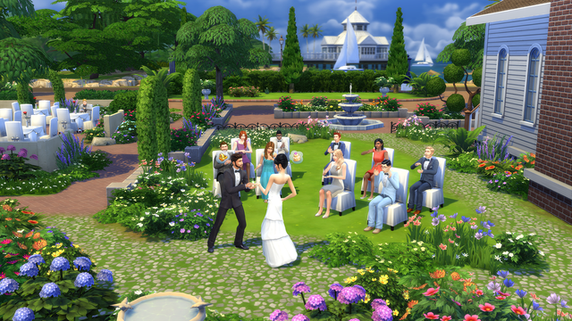 The Sims 4 - a group of Sims attend a wedding