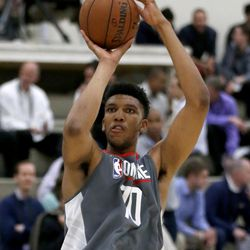 Tony Bradley, from North Carolina, shoots during the NBA draft basketball combine Thursday, May 11, 2017, in Chicago. (AP Photo/Charles Rex Arbogast)