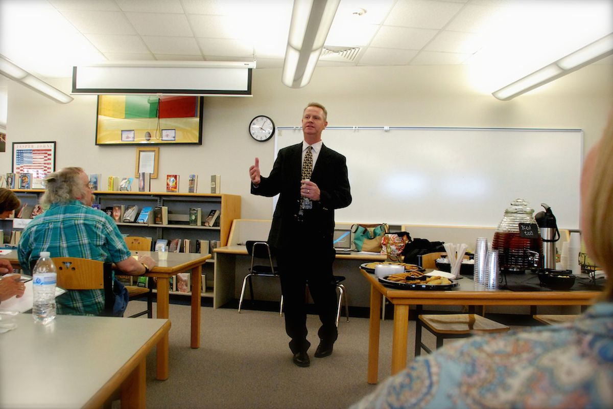 Dan McMinimee at a meeting with Jeffco parents, teachers, and community members after being named finalist for the Jeffco superintendent job.