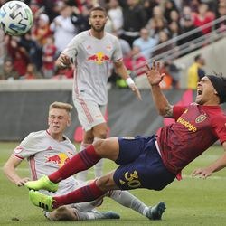 Real Salt Lake defender Marcelo Silva (30) and New York City Red Bull Patrick Seagrist get tangled in Sandy on Saturday, March 7, 2020. RSL tied with New York 1-1.