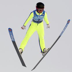 Sarah Hendrickson competes in the women's ski jumping event at the U.S. Olympic Team Trials, Sunday, Dec. 31, 2017, in Park City, Utah. Hendrickson qualified for the Olympic team.