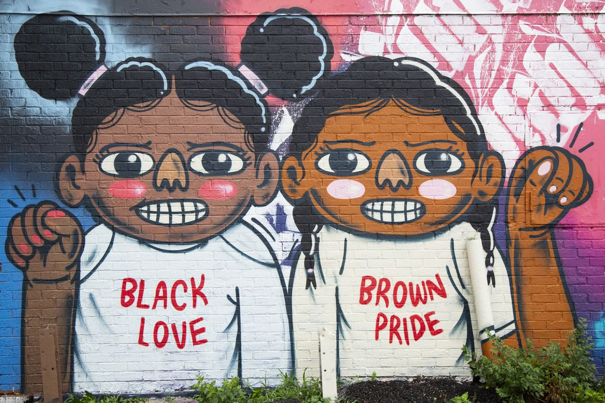 An art piece by Sentrock is part of The Black & Brown Unity Mural Project by various artists near the corner of 79th Street and Cornell Avenue in South Shore on July 19, 2020.