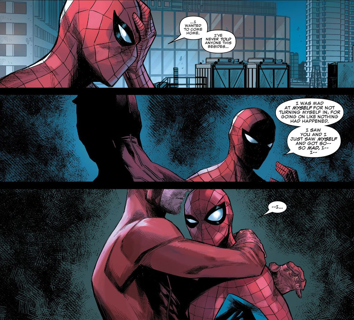 """""""I was mad at myself for not turning myself in. For going on like nothing had happened. I saw you and I just saw myself and got so —so mad, I — I —"""" Spider-Man tells Daredevil in Daredevil #23, Marvel Comics (2020). Daredevil hugs him."""