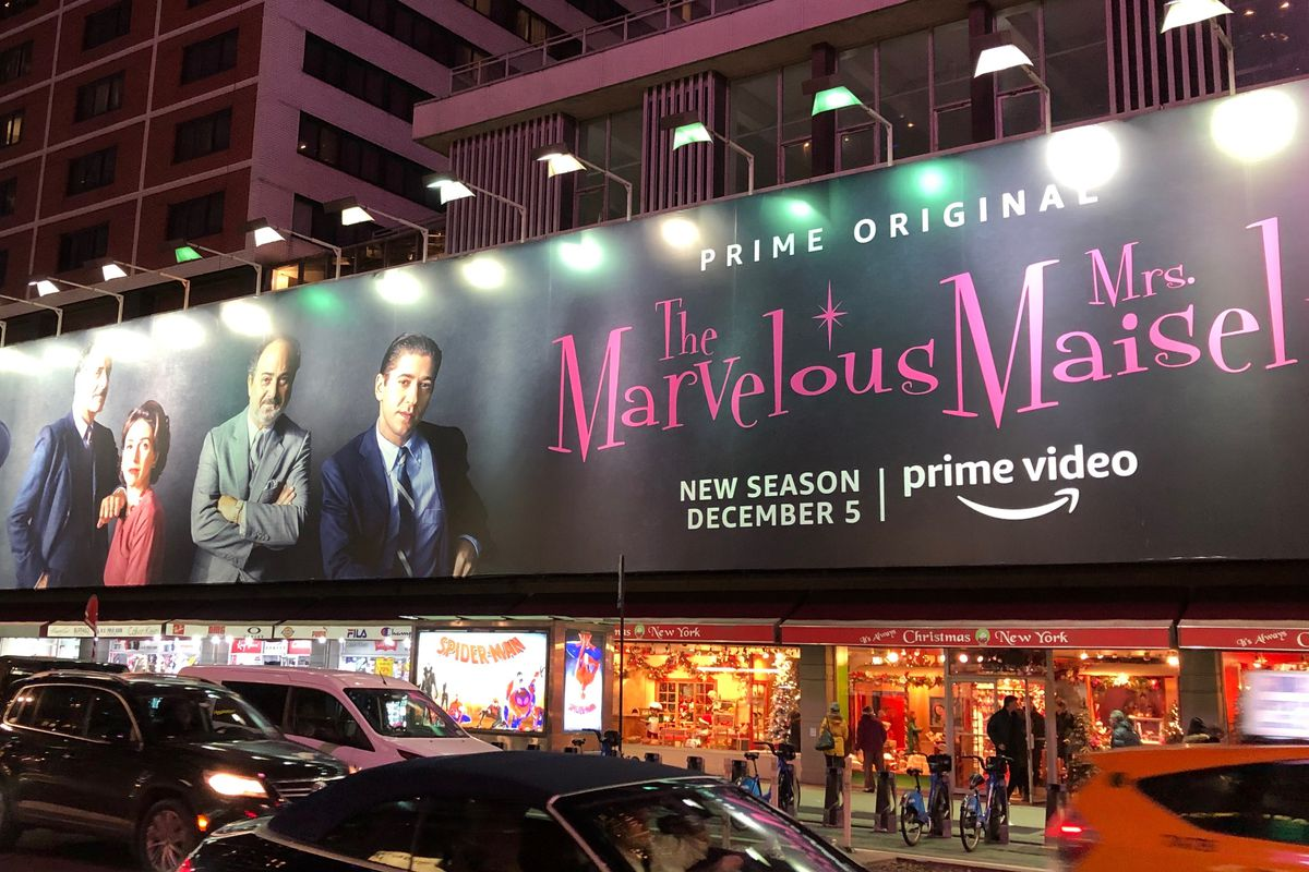 A Billboard for The Marvelous Mrs. Maisel in 2018.