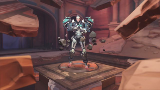 new hero Sigma floats in the desert map Petra in a screenshot from Overwatch