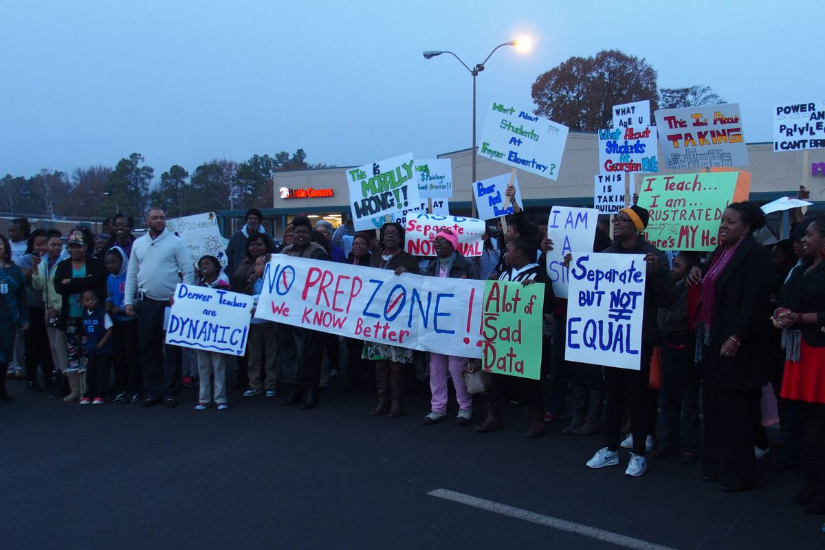 Parents, teachers and students protest in 2014 against the proposed state takeover of three Memphis schools.