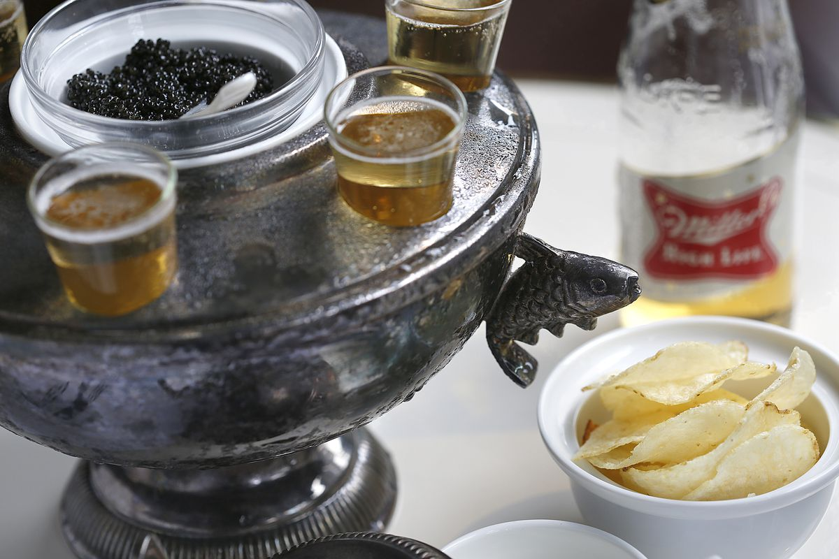 Caviar bump and a shot of Miller High Life beer with chips at Riddler, a new Champagne bar in Hayes Valley on Wednesday, January 4, 2016, in San Francisco, Calif.
