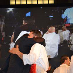 José Andrés and Food Fight winner Jeff Buben share a hug