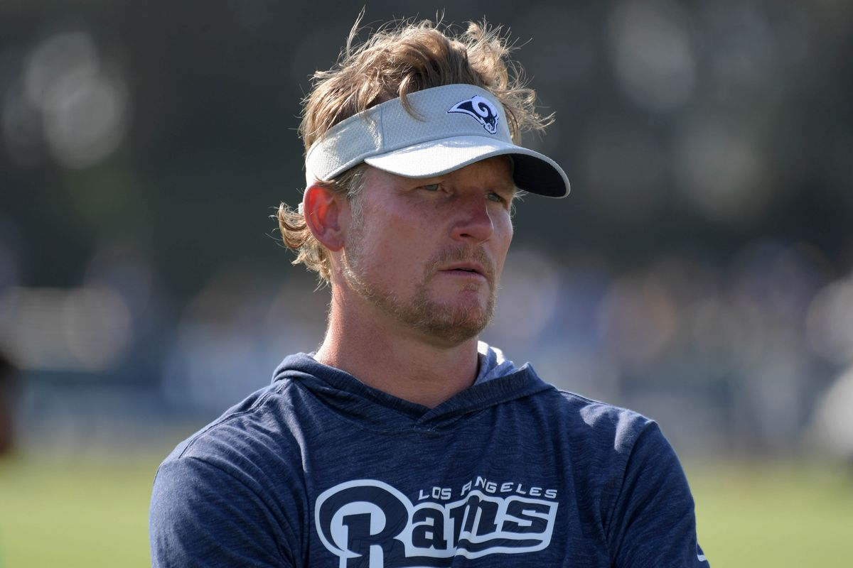 Los Angeles Rams General Manager Les Snead looks on during training camp, Jul. 28, 2018.