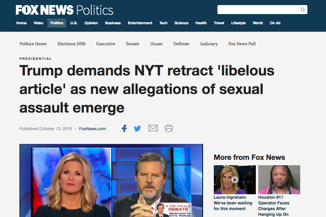 Fox News' take on Donald Trump's sexual assault allegations