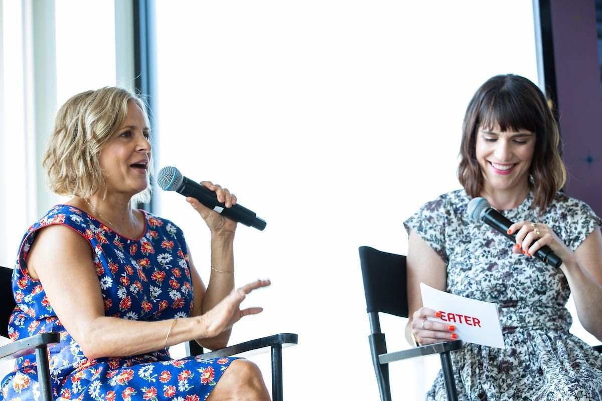 Amy Sedaris (left) and Amanda Kludt on stage at the Eater Young Guns Summit.