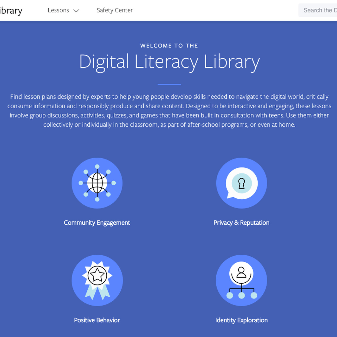 Facebook launches Digital Literacy Library to help young