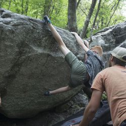 Zach Puppo, Noah Keithley and Nate Hochman boulder in Little Cottonwood Canyon in Salt Lake City on Thursday, June 1, 2017. The Salt Lake Climbers Alliance, The Church of Jesus Christ of Latter-day Saints and Access Fund announced the signing of an unprecedented lease for 140 acres in Little Cottonwood Canyon . The parcel, known as the Gate Buttress, is about a mile up the canyon and has been popular with generations of climbers because of its world-class granite. The agreement secures legitimate access to approximately 588 routes and 138 boulder problems at the Gate Buttress for rock climbers, who will be active stewards of the property. The recreational lease is the result of several years of negotiations between LDS Church leaders and the local climbing community.