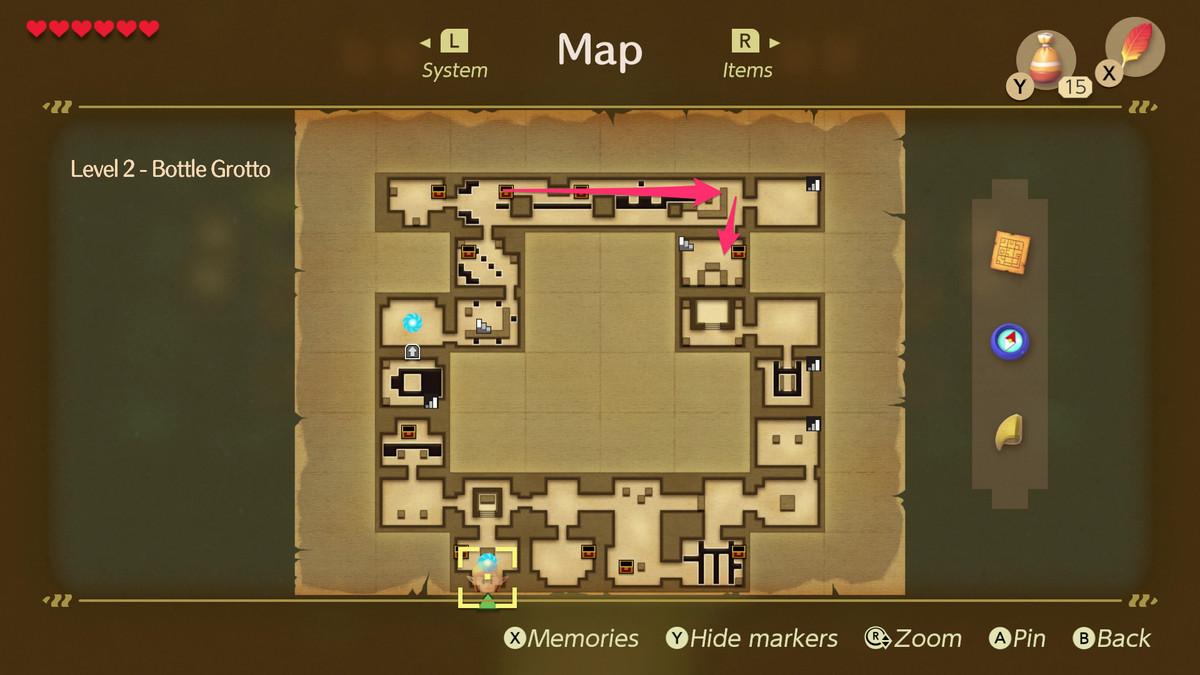 Link's Awakening Bottle Grotto path to the Nightmare Key