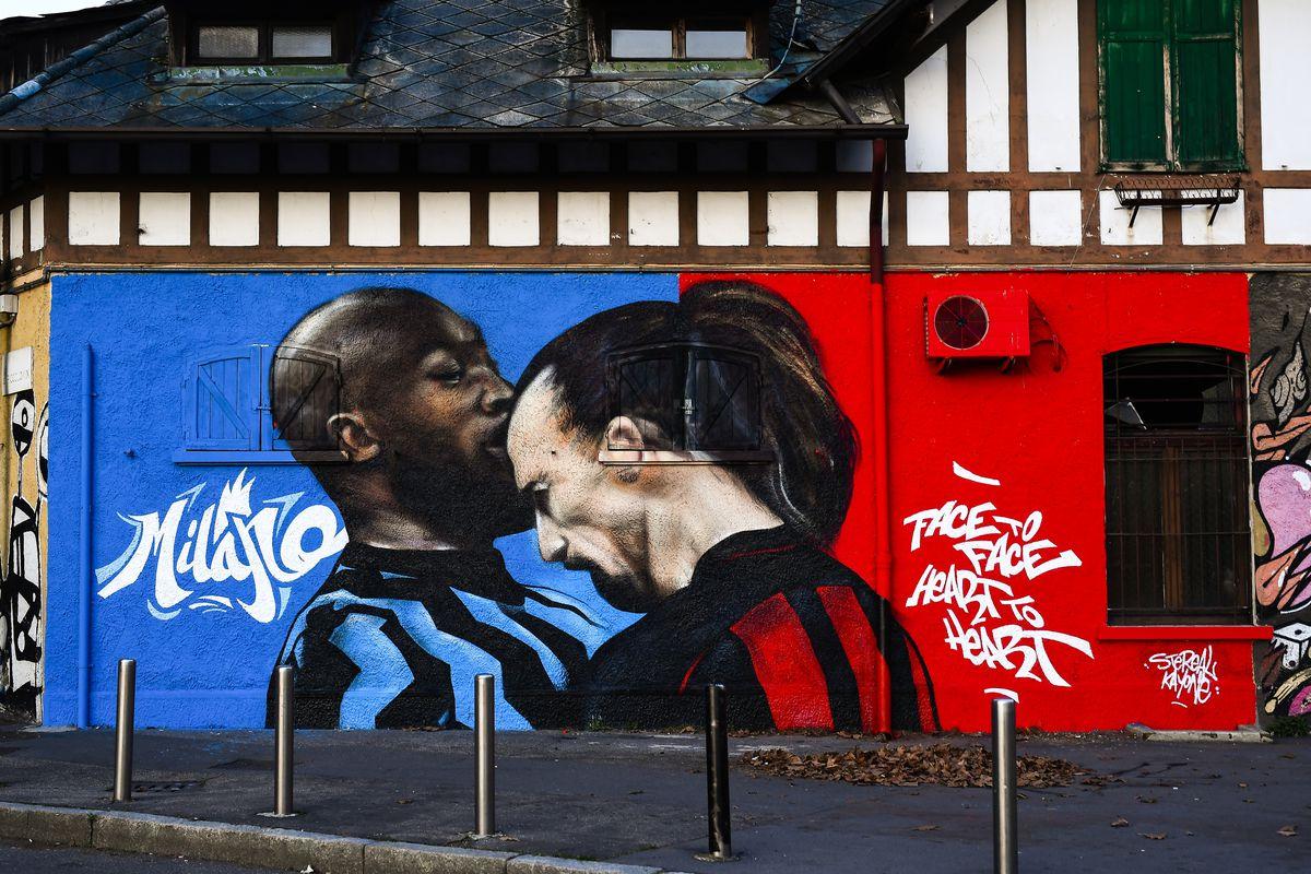 A mural depicting Romelu Lukaku of FC Internazionale and...