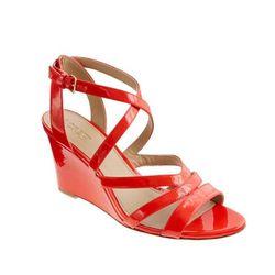 "<a href="" http://www.jcrew.com/womens_category/shoes/wedges/PRDOVR~84418/84418.jsp""> J.Crew Marci patent sandals</a>, $198 jcrew.com"