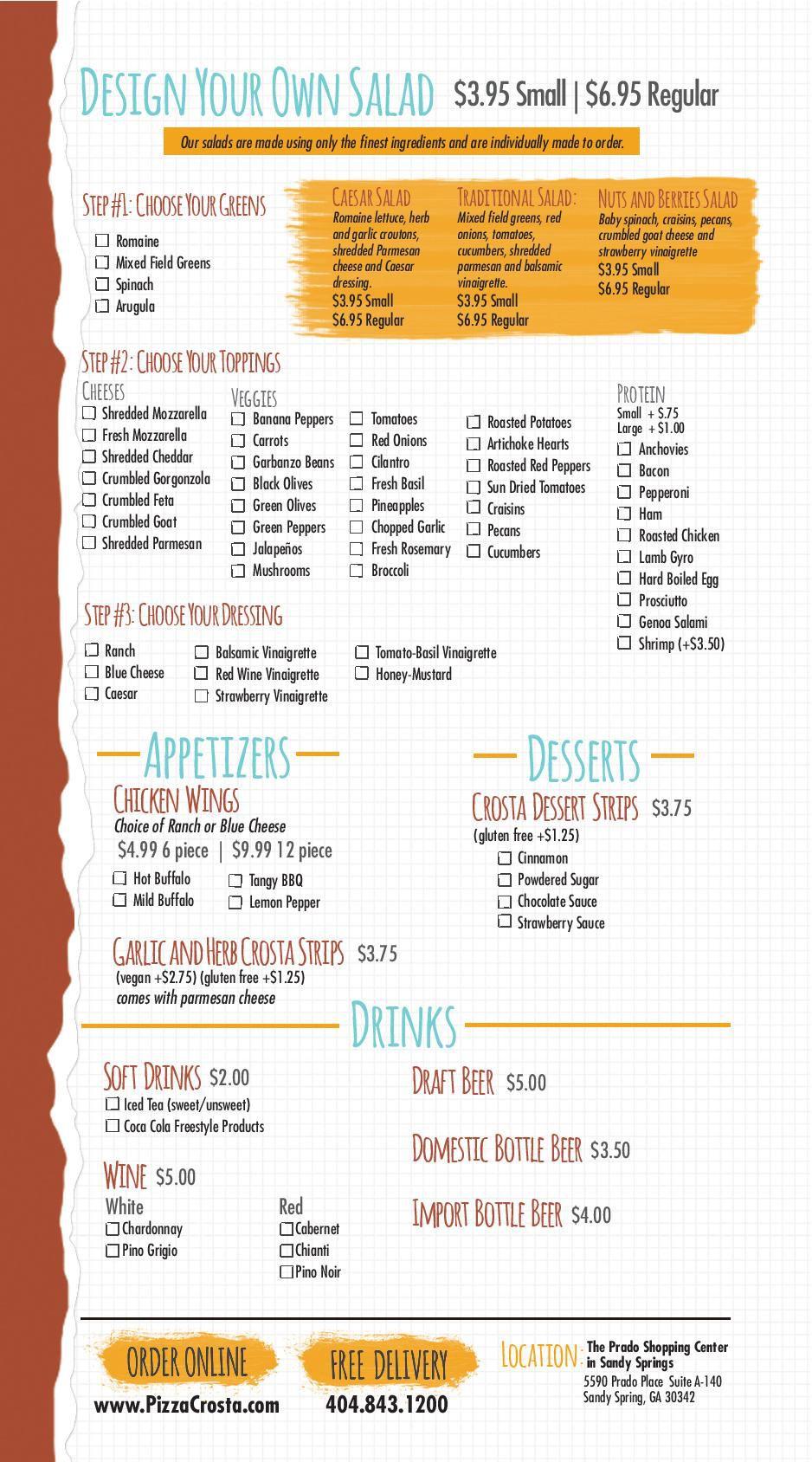Pizza Crosta menu 2