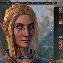 A sample of a face created in the early access edition of Baldur's Gate 3 at launch.
