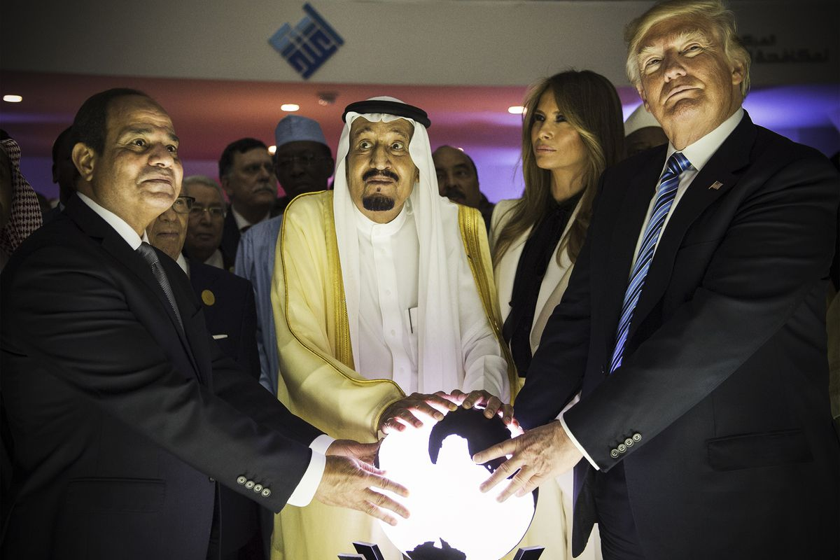 President Trump, First lady Melania Trump, Saudi Arabia's King Salman bin Abdulaziz al-Saud (second left) and Egyptian President Abdel Fattah el-Sisi (left) put their hands on an illuminated globe during the inauguration ceremony of the Global Center for