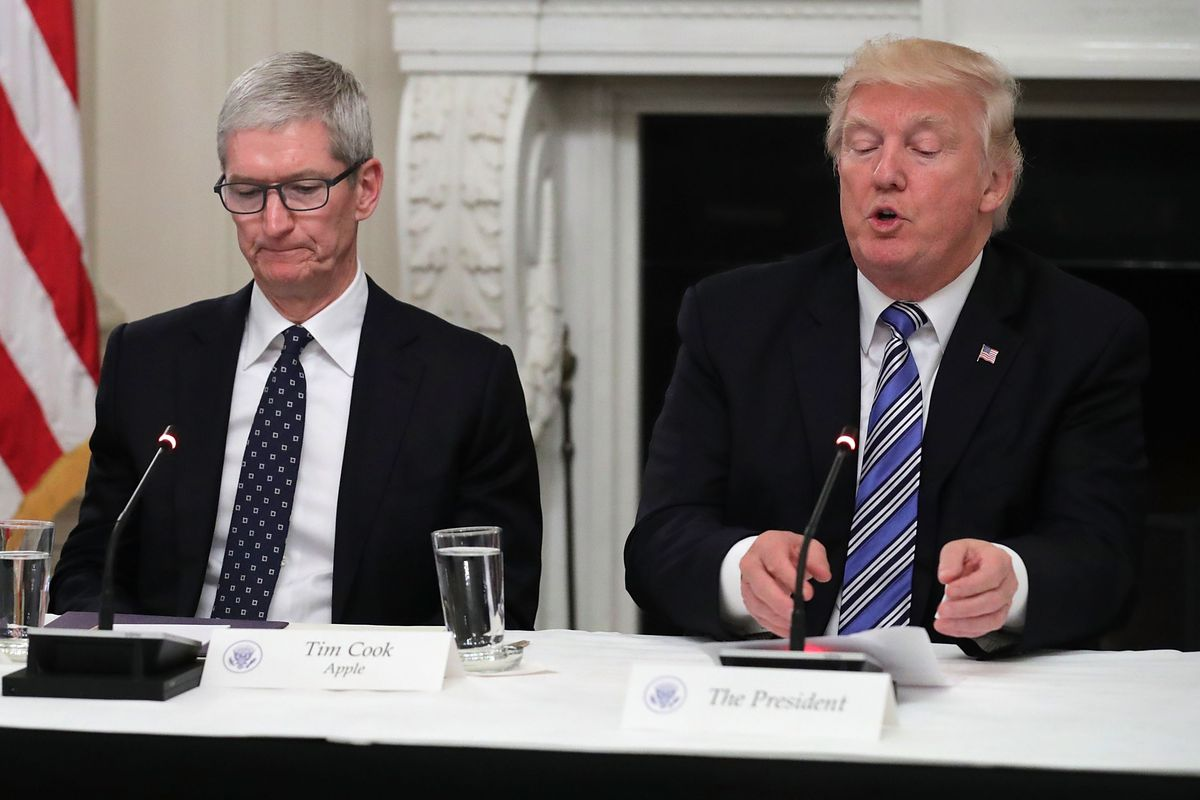 Trump Round Table.Trump Says Tim Cook Made Good Case That Trade War Helps Samsung