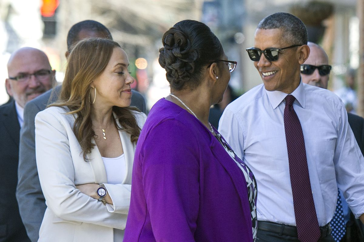 President Obama meets with some of the individuals released from prison after he reduced their sentences.