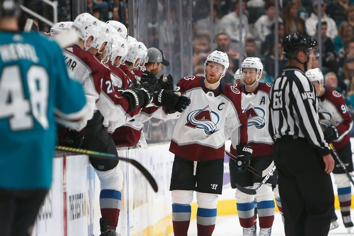 Gabriel Landeskog of the Colorado Avalanche celebrates after scoring a goal in the second period against the San Jose Sharks in Game 2 of the Western Conference Second Round during the 2019 NHL Stanley Cup Playoffs at SAP Center on April 28, 2019 in San J