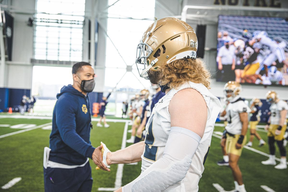 Marcus Freeman and Bo Bauer notre dame football