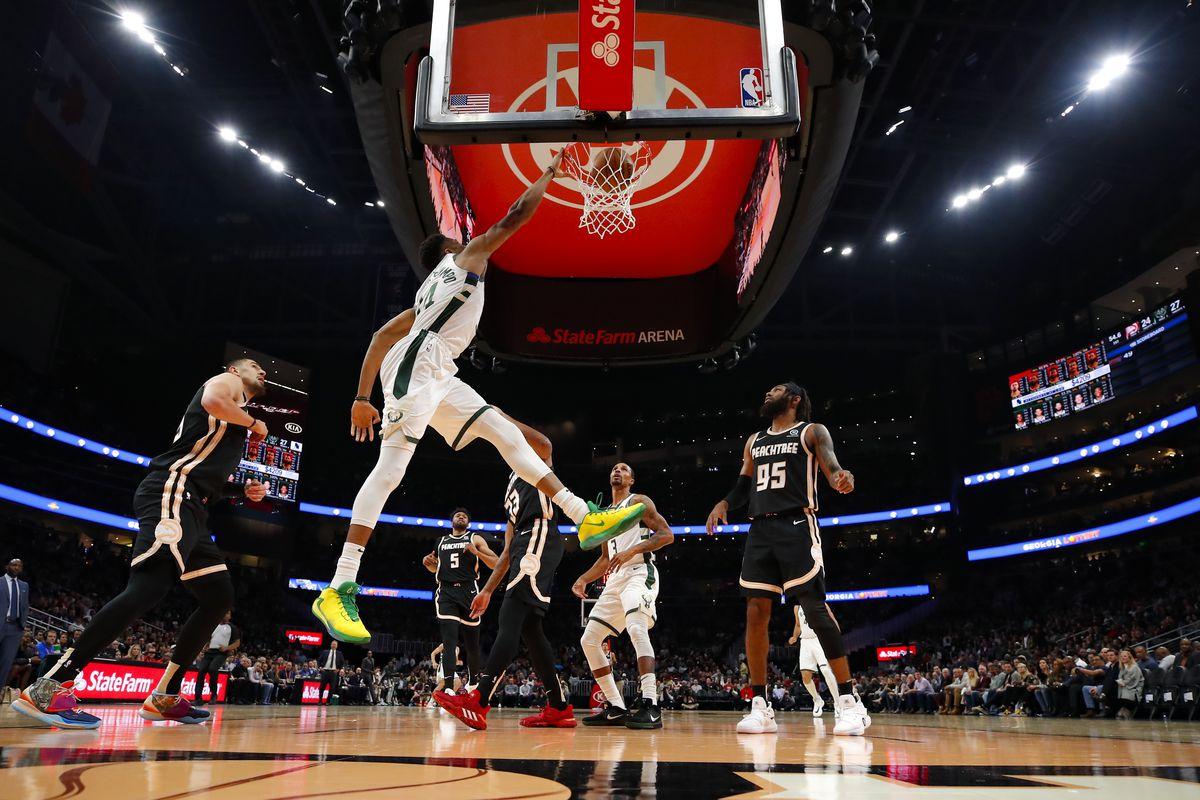 Giannis Antetokounmpo of the Milwaukee Bucks dunks during the first half of an NBA game against the Atlanta Hawks at State Farm Arena on November 20, 2019 in Atlanta, Georgia.