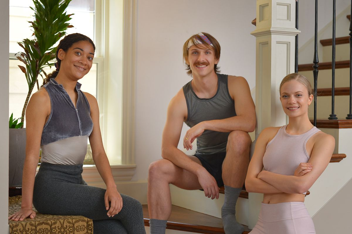 Three Joffrey Ballet dancers: Princess Reid, Graham Maverick, and Brooke Linford posing for a group portrait after demonstrating their favorite at-home workout exercises on Wednesday, May 13, 2020.