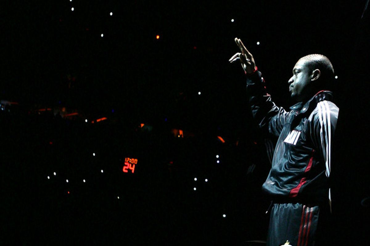 Guard Dwyane Wade of the Miami Heat is introduced against the Orlando Magic at American Airlines Arena on October 29 2010 in Miami Florida.