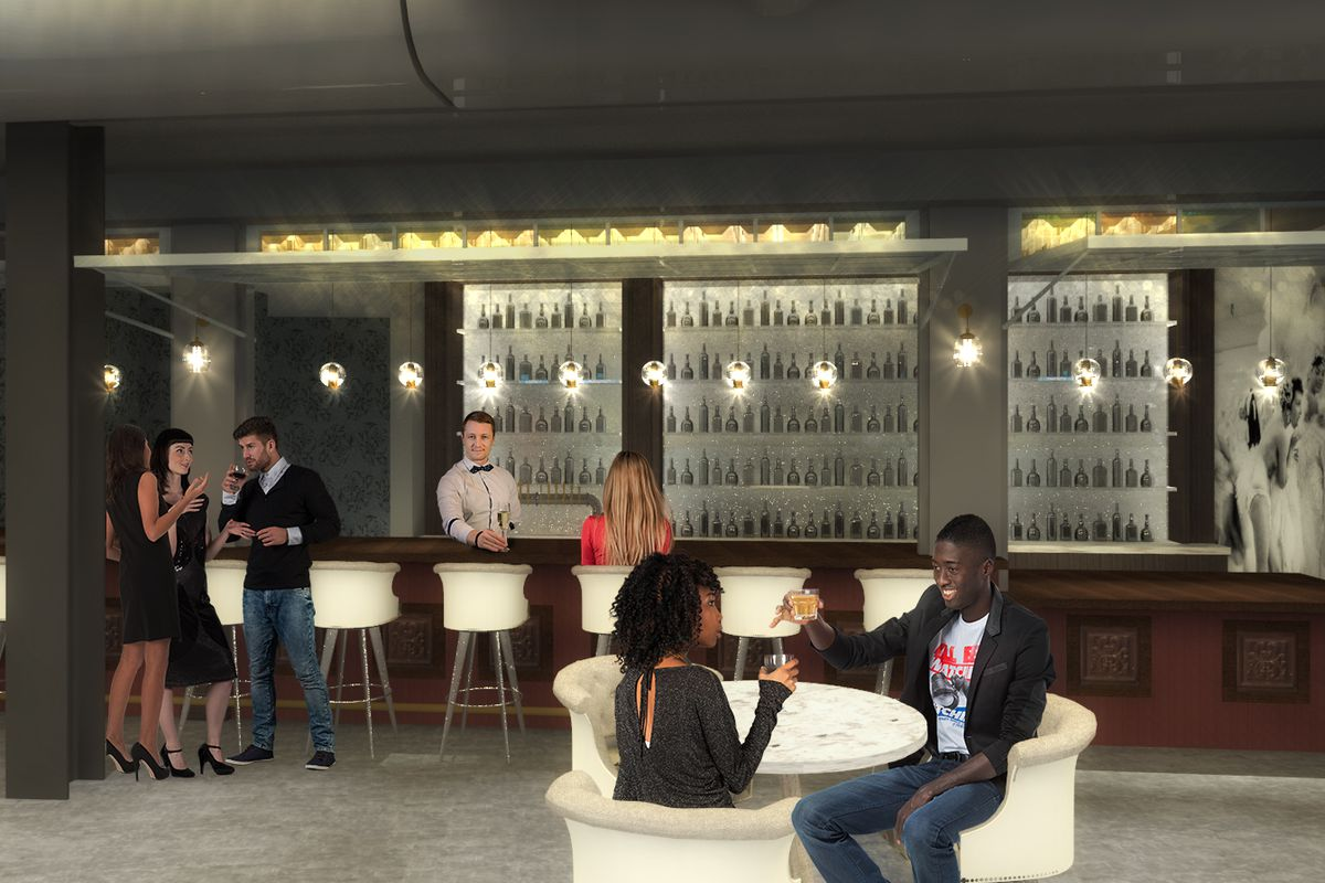 Rendering of the Riviera bar at Topgolf
