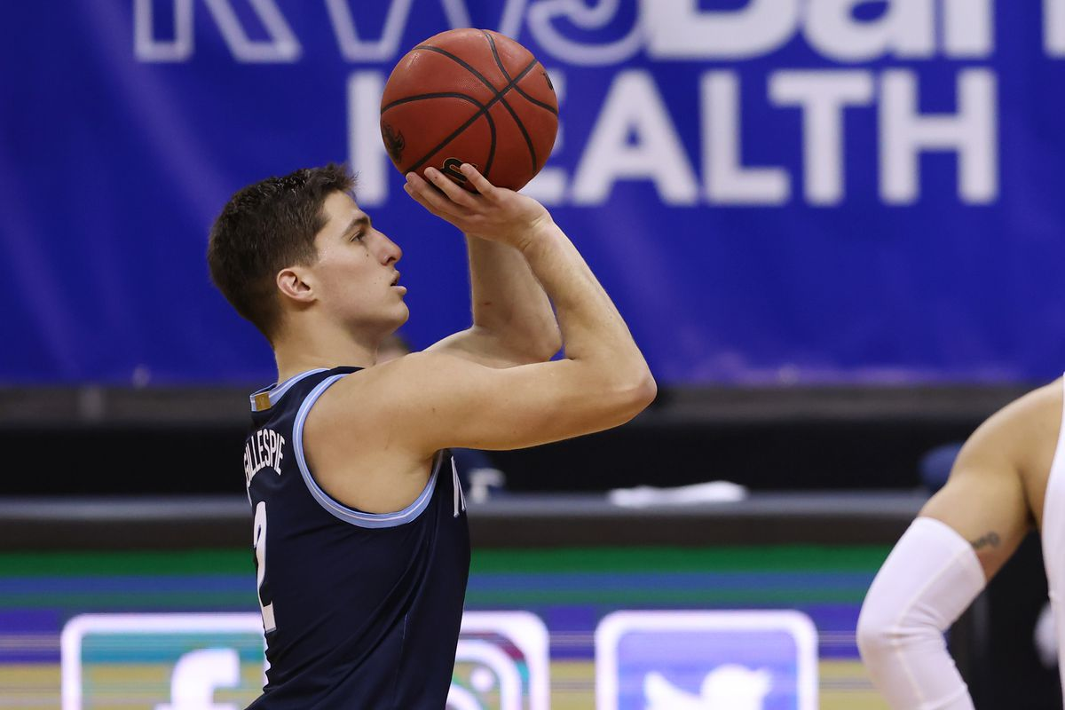 Collin Gillespie of the Villanova Wildcats in action against the Seton Hall Pirates during an NCAA college basketball game at Prudential Center on January 30, 2021 in Newark, New Jersey.