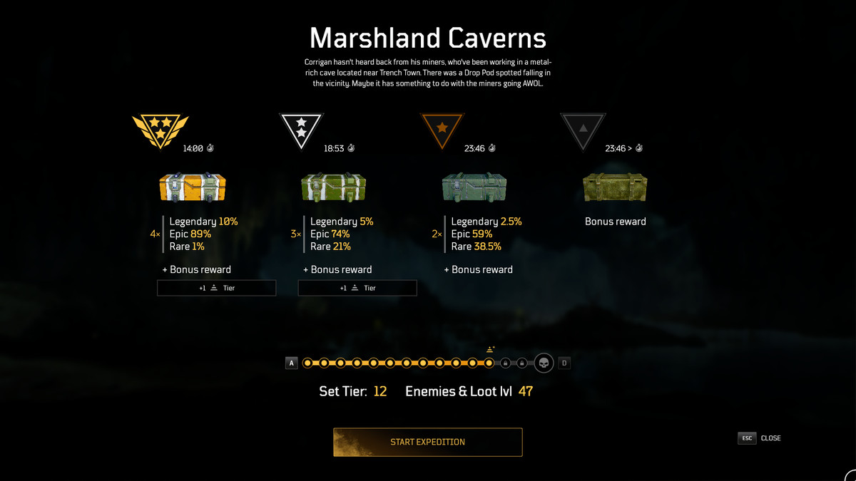 Outriders Challenge Tier menu