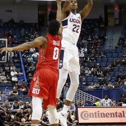 UConn's Terry Larrier (22) puts up a three-pointer.