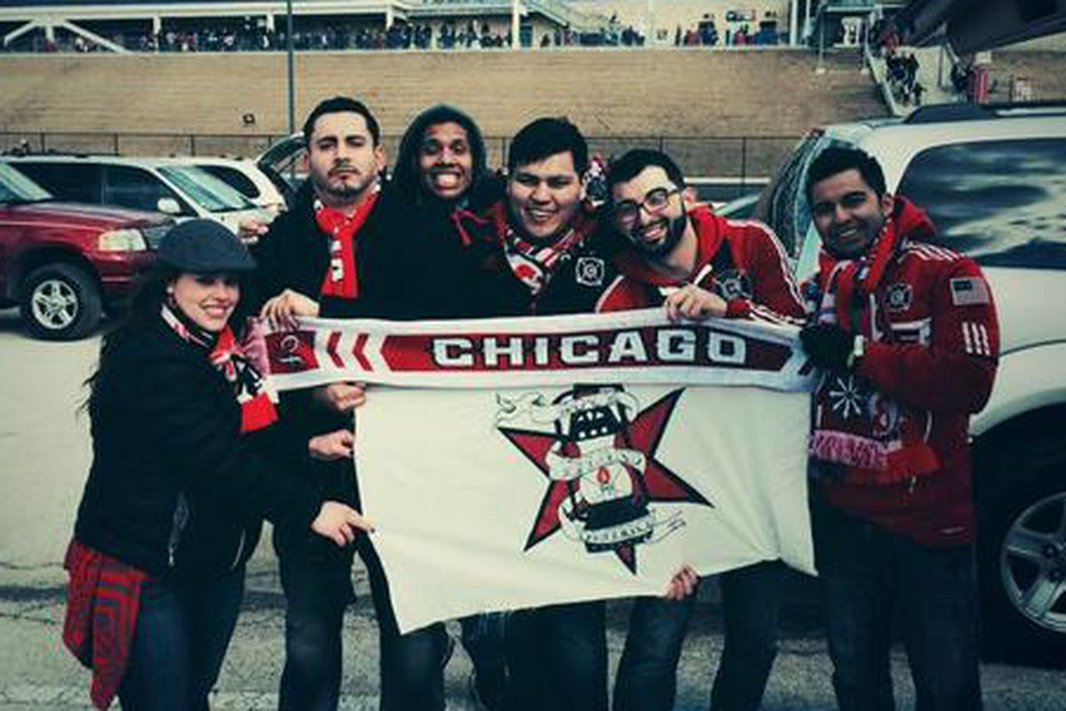 Rock Island District, a new cf97 supporters group, before the home opener at Toyota Park.