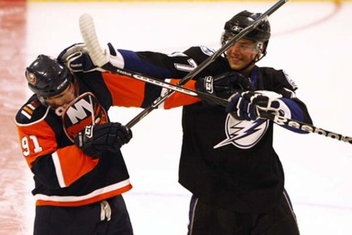 2009 NHL draftees Victor Hedman (right) and John Tavares (left) fool around during a photo shoot this summer.  The two players square off tonight (December 5th, 2009) in Tampa.