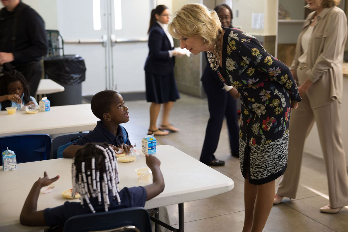 U.S. Education Secretary Betsy DeVos visiting the Christian Academy for Reaching Excellence in Miami.