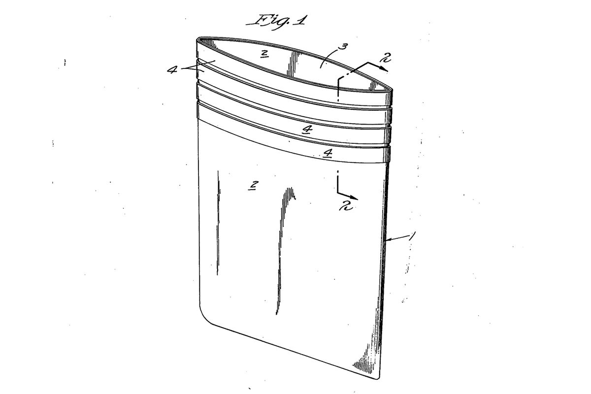 The 1949 patent for what became the air sickness bag