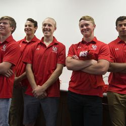 Club players for the University of Utah lacrosse team attend a press conference where an announcement was made that the university will begin sponsoring men's lacrosse as an NCAA sport starting in 2018-19 at the university in Salt Lake City on Friday, June 16, 2017.